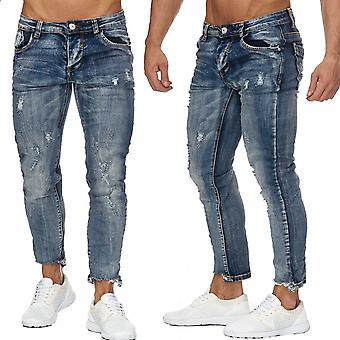 Men's Ripped 7/8 Jeans Destroyed Regular Fit Tapered Leg H1960