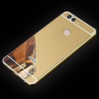 Mirror / Mirror aluminium bumper 2 pieces with cover gold for Huawei Nova 2S bag cover