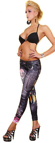 Waooh - Fashion - Long Leggings & printed denim tattoo flash