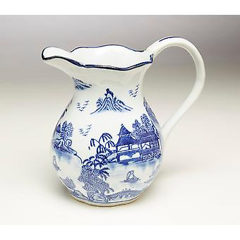 AA Importing 59809 8.5 Inch Blue & White Pitcher