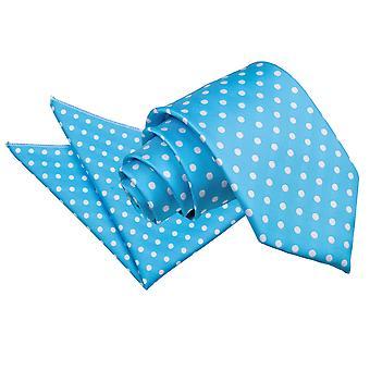 Robins ägg blå prickiga slips & Pocket Square Set