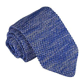 Royal Blue Melange Plain Speckled Knitted Slim Tie