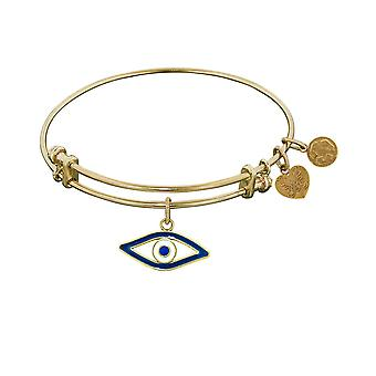 Stipple Finish Brass Evil Eye Angelica Bangle Bracelet, 7.25