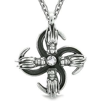 Übernatürliche Dragon Magic Befugnisse alle Kräfte der Natur Amulett White Crystal Anhänger 18 Zoll Halskette