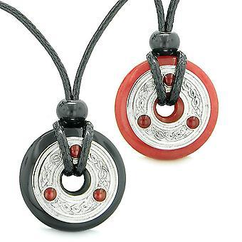 Celtic Triquetra Love Couples Best Friends Coin Donuts Agate Cherry Red Quartz Amulet Necklaces