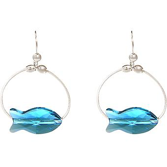 Gemshine - ladies - earrings - 925 Silver - fish - WITH SWAROVSKI ELEMENTS® - 3 cm Blue - MADE