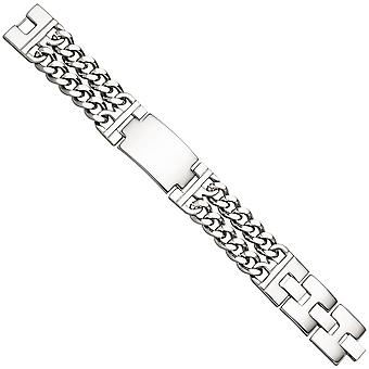 Men's shield belt 2-row stainless steel wide 21 cm bracelet engraved ID Bracelet