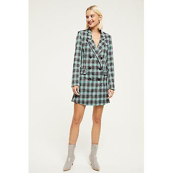 Ghospell Check Double Breasted Blazer Dress