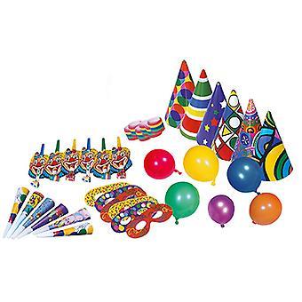 Party set 36 PCs per 6 Hat balloons masks Clowntröten blowouts streamer rolls