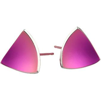 Ti2 Titanium driehoekige koepelvormige Stud Oorbellen - Candy roze