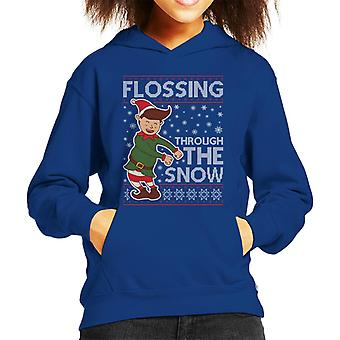 Flossing Through The Snow Elf Christmas Knit Pattern Kid's Hooded Sweatshirt