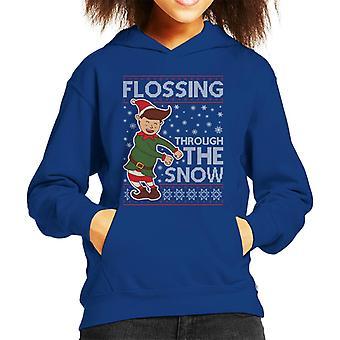 雪を通してフロッシングエルフクリスマスニットパターンキッドのフード付きスウェットシャツ