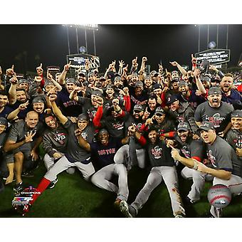 The Boston Red Sox celebrate winning Game 5 of the 2018 World Series Photo Print