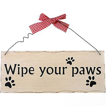 Something Different Wipe Your Paws Hanging Sign