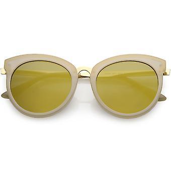 انعقدت القرن كبيرة الحجم للمرأة القط العين نظارات جولة عدسة معكوسة 54 مم
