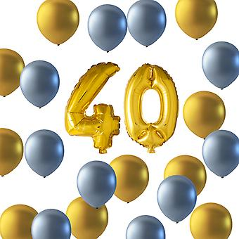 Balloons birthday mix 40 years gold/silver