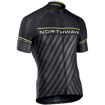 Northwave Black-Yellow Fluorescent 2018 Logo 3 Short Sleeved Cycling Jersey