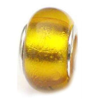 TOC BEADZ Yellow Foil 9mm Glass Slide-on Bead