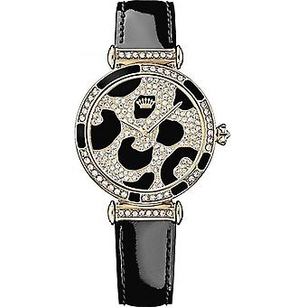 Juicy Couture 1901170 Ladies' J Couture Stone Set Watch With Two Tone Dial And Black Strap