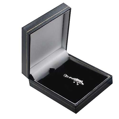 Silver 25x11mm moveable Crocodile Charm on a lobster trigger