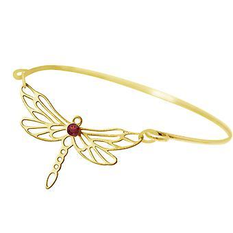 Gemshine armband Dragonfly met rode granaat edelsteen in 925 zilver of verguld