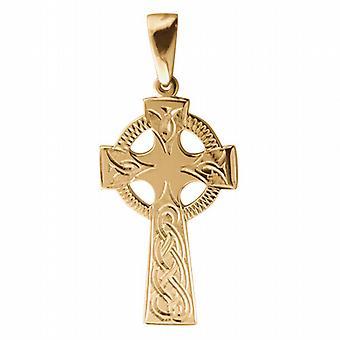 Oro 9ct 45x20mm reticolo di nodo inciso a mano croce celtica con cauzione