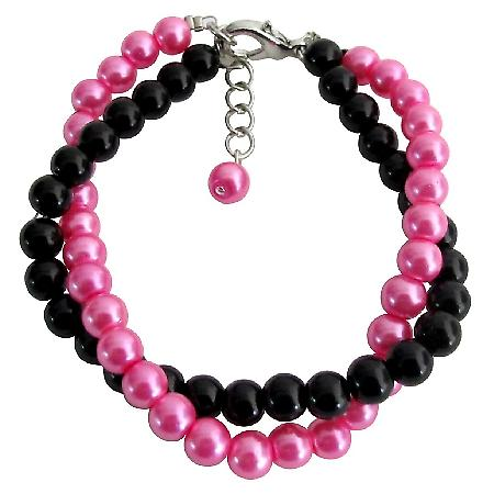 Black And Fuchsia Pearls Jewelry Twisted Bracelet Gift