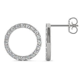 14K wit goud Moissanite door Charles & Colvard 1.4mm ronde Stud Earrings Stud Earrings, 0.52cttw DEW