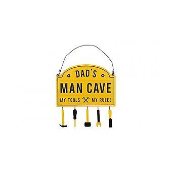 Dads Man Cave Yellow Hanging Door Plaque