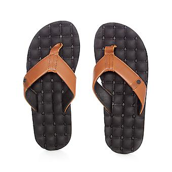 Volcom Brown Stone Recliner Leather Flip Flop