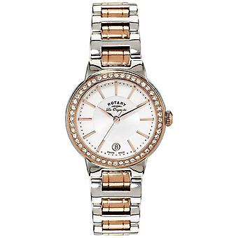 Rotary Womens Les Originales Rose Gold Steel Crystal Set LB90083/02 Watch