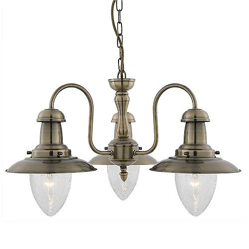Searchlight 5333-3AB Fisherman Antique Brass Finish 3 Arm Fitting With Seeded Glass