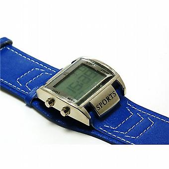 Yess Blue Leather Effect Strap Watch Metal Bezel