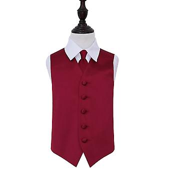 Burgundy Plain Satin Wedding Waistcoat & Tie Set for Boys