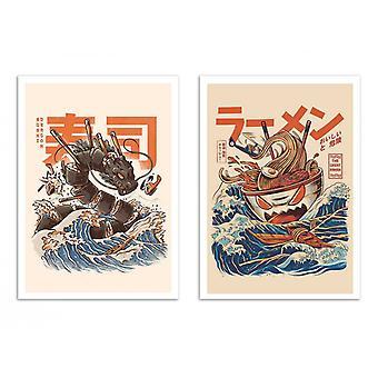 2 konst affischer 30 x 40 cm-ramen och sushi Dragon-Ilustrata