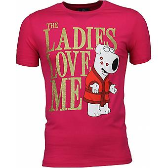T-shirt-The Ladies Love Me Print-Pink