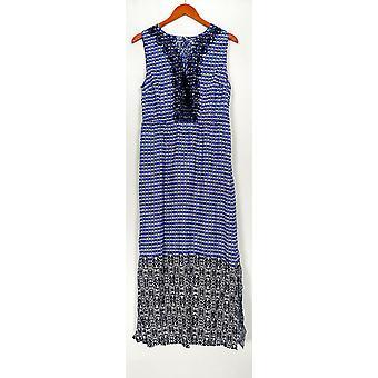 Isaac Mizrahi Live! Dress Geo Printed Maxi w/Embroidery Blue A264685