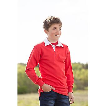 Front row kids long sleeve plain rugby shirt fr109