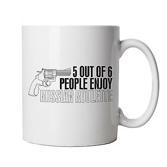 5 Out Of 6 Russian Roulette Funny Mug | Russian Roulette Bull Run Cage Dive Bungee Jump | Humour Laughter Sarcasm Jokes Messing Comedy | Joke Cup Gift