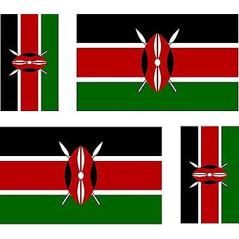 4 X Autocollant Sticker Voiture Moto Valise Pc Portable Drapeau Kenya Kenyan