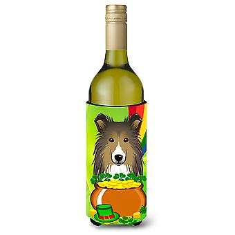 Sheltie St. Patrick's Day Wine Bottle Koozie Hugger BB1986LITERK