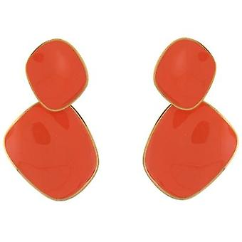 Kenneth Jay Lane Coral Enamel & Gold Plated Odd Shaped Clip On Earrings