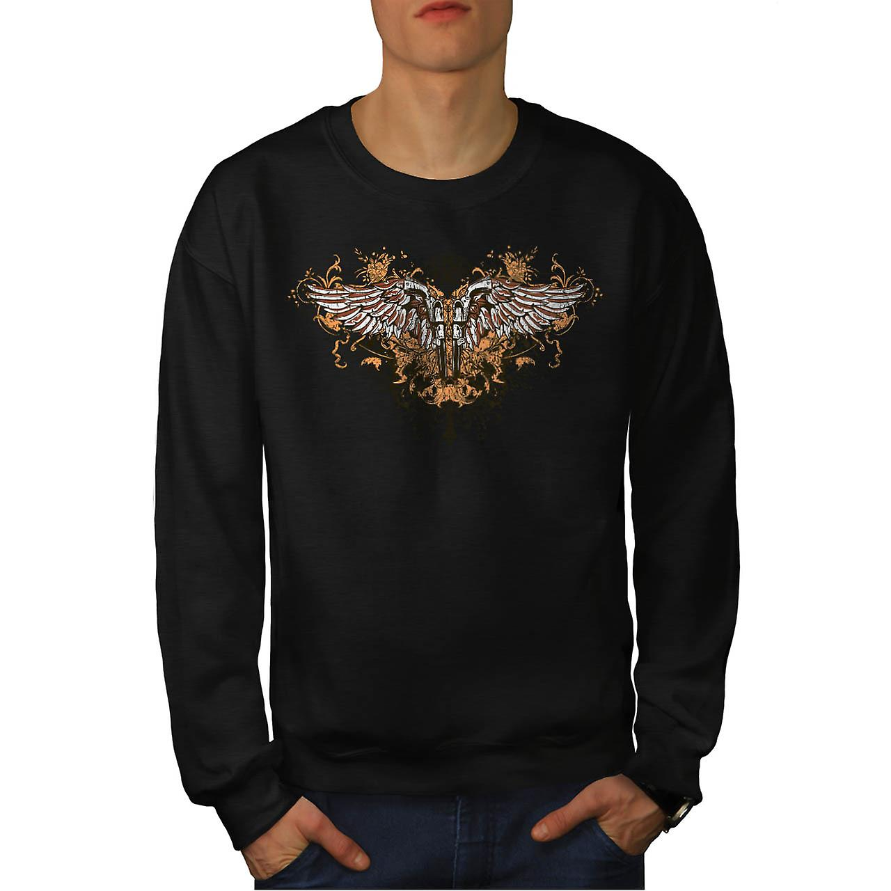 Pistolet Gun Angel Wing Gang Land hommes Black Sweatshirt | Wellcoda