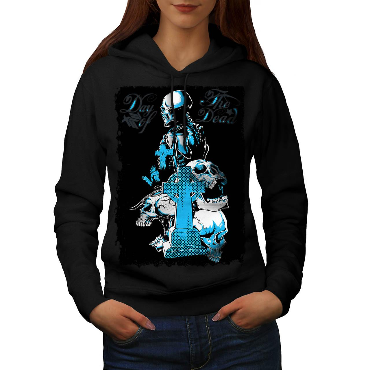 Dead Day Grave Yard Skull Tomb Women Black Hoodie | Wellcoda