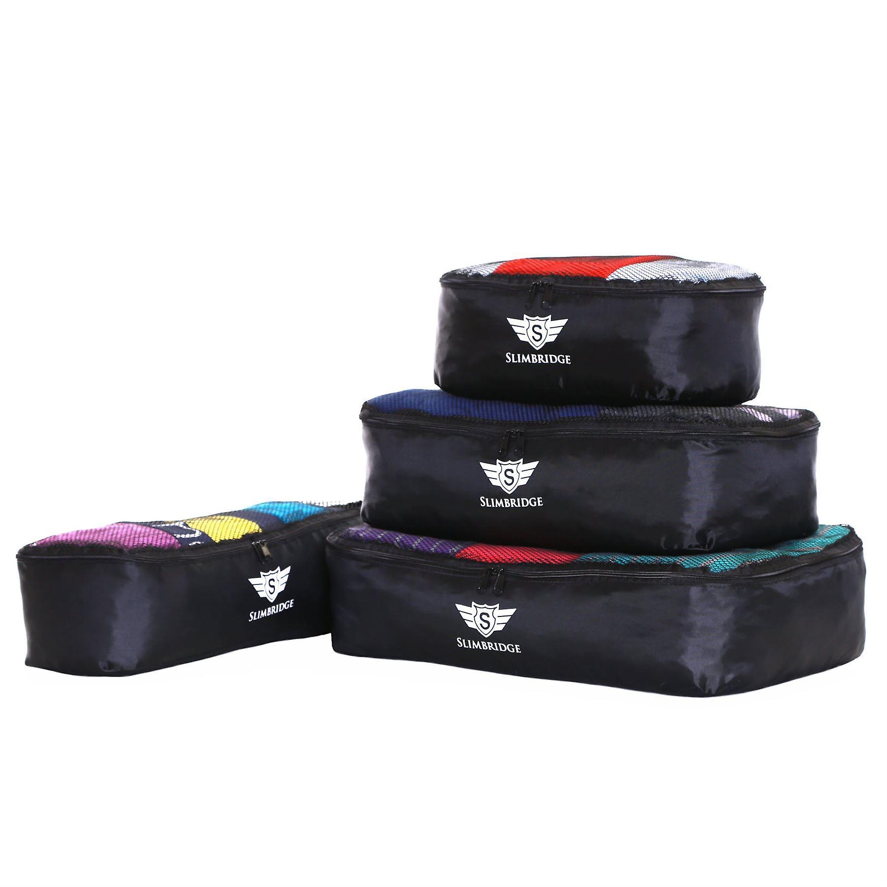 Slimbridge Milan Set of 4 Packing Cubes, Black
