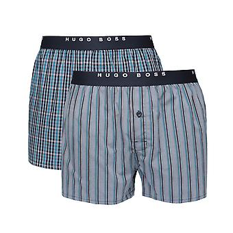 BOSS 2 Pack Blue, Navy & Grey Woven Boxers