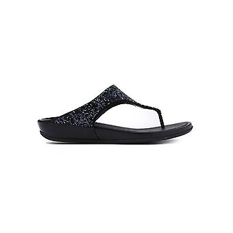 Sandali donna Banda Crystal Toe-Post - nero