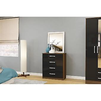 Birlea Lynx 4 Drawer Chest Walnut & Black