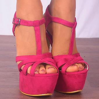 Koi Couture Ladies Xd24 Fuchsia Pink Faux Suede Peep Toes Stilettos Strappy Sandals High Heels