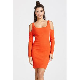 Girls on Film Tomato Colour Ribbed Jumper Bodycon